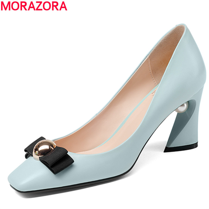 MORAZORA spring new arrival square heels shoes woman fashion wedding party bowknot sweet shoes square toe women pumps solid morazora new arrive woman pumps spring summer sweet bowknot fashion splice color sexy thin heels pointed toe buckle shoes woman