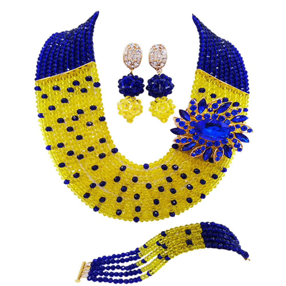Fashion Royal Blue Yellow African Wedding Beads Jewelry Set Nigerian Beads Crystal Necklaces Bracelet Earrings CPS 2042