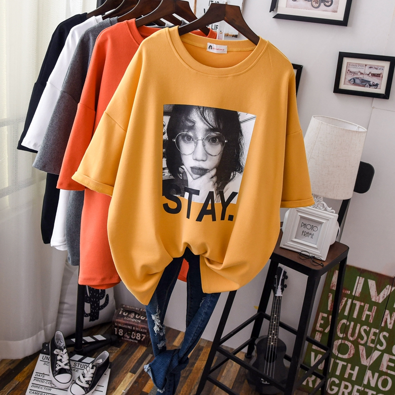 2019 Good Quality Woman Thick Loose T Shirts Short Sleeve Fashion Solid O Neck Oversize Cotton Tops Female Funny Tees Shirts