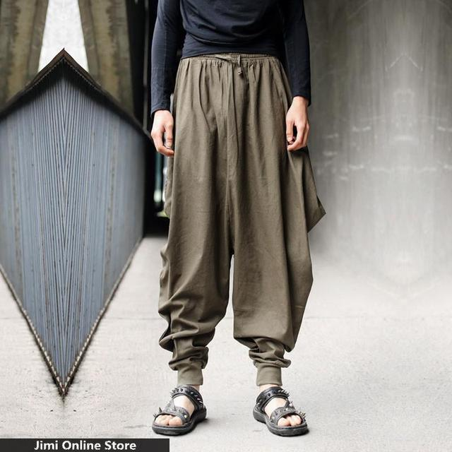 Hip hop hombres joggers pantalones grandes pantalones largos flojos ocasionales hombres punky retro de los hombres sólidos de diseños personalizados de cáñamo fresco harem ocasional pantalones