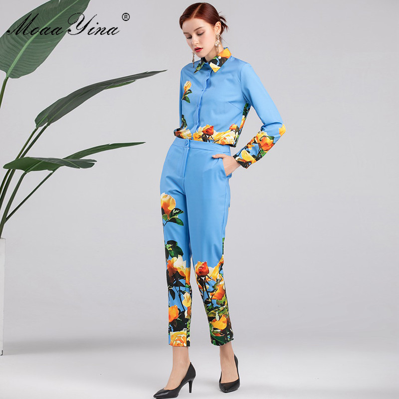 MoaaYina Fashion Designer Set Spring Autumn Women's Long sleeve Floral-Print Sweet Elegant Blouse Tops+Trousers Two-piece suit