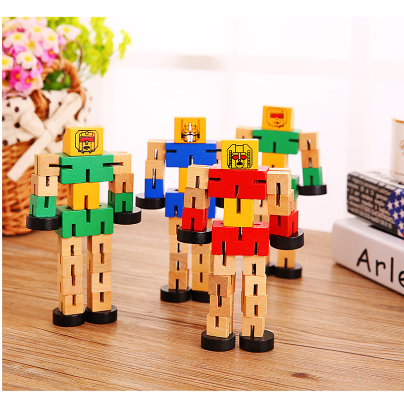 SLPF Children Puzzle Toys Multi Function Wooden Autobot Hand To Play Model Toy Deformation  Robot Building Block Hot Sale A38