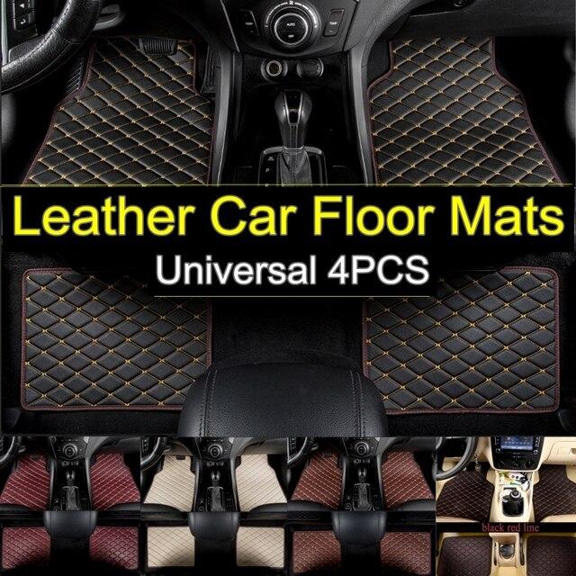 4pcs/set Flash Mat Leather Car Floor Mats Universal Auto Carpet Floor Liner Left Driving Premium Foot Pad for Mercedes for BMW