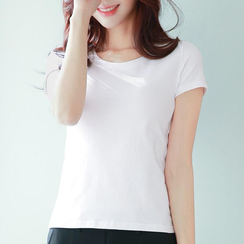 Courtes shirt Femelle Mince En 2018 Coton D'été manches Pur À Blanc Semi Manches Simple T Nouveau Étudiants 08vwNmn