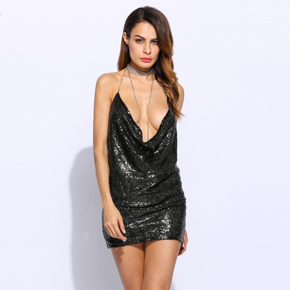 HTB1HEG2PpXXXXX1XFXXq6xXFXXXI - Women Sexy Spaghetti Strap Sequined dress sparkly halter backless metal club party dresses 3 Colors PTC 336