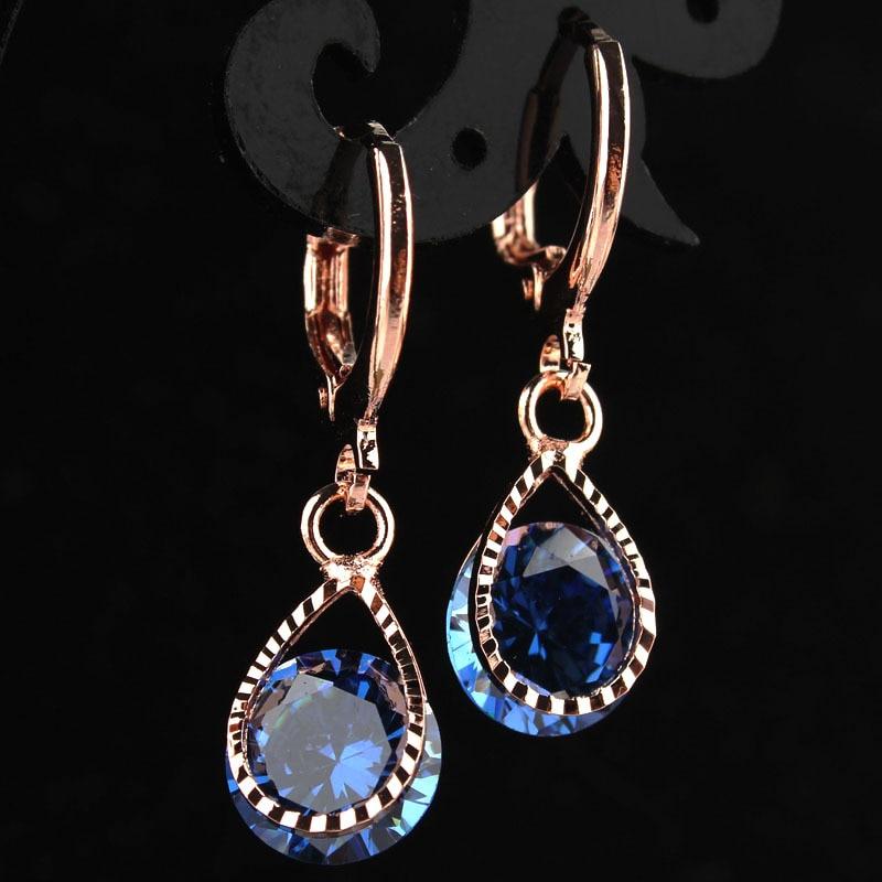 New Fashion Women/Girl's Romantic Rose Gold-color Blue CZ Stone Pierced Dangle Drop Earrings Jewelry Gift Free shipping