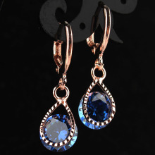 New Fashion Women/Girl's Romantic Rose Gold-color Blue CZ Stone Pierced Dangle Drop Earrings Jewelry Gift Free shipping
