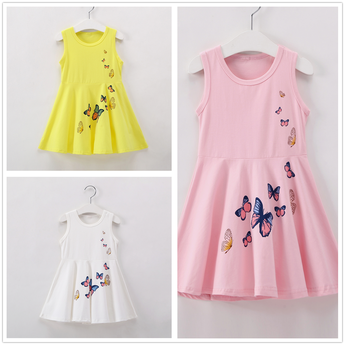 2-7Y Kids Girl Dress Summer Birthday Girls White Princess Dress Toddler Cotton Clothes Yellow Children Clothing Pink Butterfly 2017 new toddler kids girls summer dress off shoulder ruffles lace dresses solid white baby girl clothes princess costume 2 7y