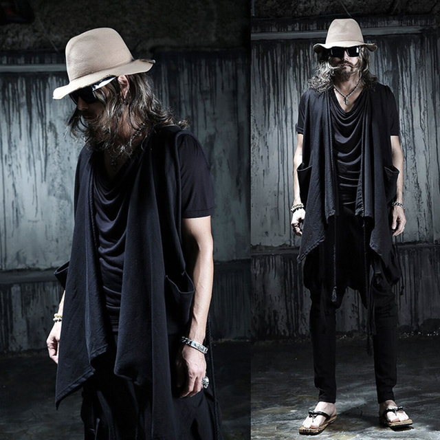 Trendy Men's Fashion Drawstring Pockets Asymmetrical Vest Black Brand Loose Casual Cardigan for Costume Stage