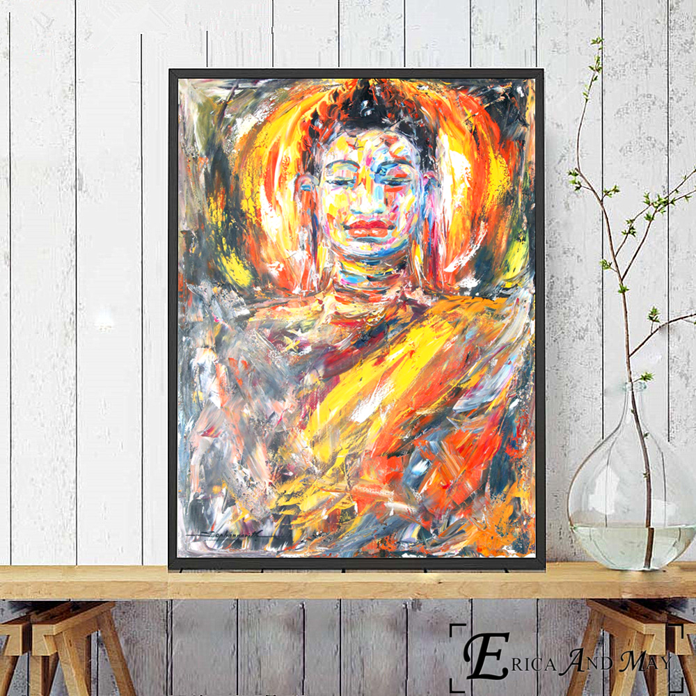 Cambodia Buddha Watercolor Painted Canvas Painting Posters And Prints For Living Room No Framed Wall Art Picture Home Decor in Painting Calligraphy from Home Garden