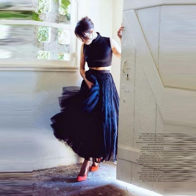 a4e9da6e0f New Arrival Elegant Black Tulle Skirt A Line Ankle Length Long Maxi Skirt  Personalized Lace Tutu Skirts Women