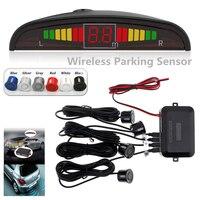 Coche inalámbrico Parktronic Sensor de estacionamiento con luz LED 4 sensores Auto inverso Backup coche de estacionamiento sistema de detección monitorizado con Radar