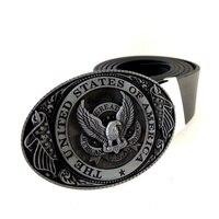 Black PU Leather Belt Men With USA Flag Eagle American Metal Buckle Cowboy Cintos Masculinos Ceinture