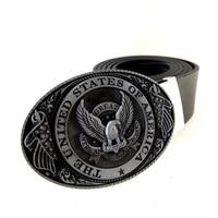 Zwart PU Lederen Riem Mannen met USA Vlag Eagle Amerikaanse Metalen Gesp Cowboy Cintos Masculinos ceinture homme Voor Jeans