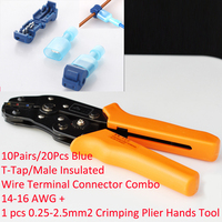 One SN 02C in 0.25 2.5mm2 Crimping Plier Hands Tool + 10Pairs Blue T Tap/Male Insulated Wire Terminal Connector Combo 14 16 AWG