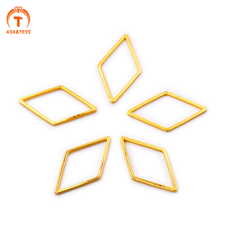 10PCS Gold Plated Brass Rhombus Open Ring Charm Findings Simple Diamond Shape Soldered Frame Connector Hoop DIY Making Jewelry in Jewelry Findings Components from Jewelry Accessories