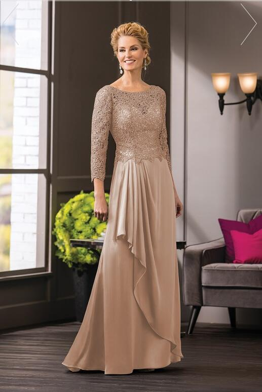 2019 Champagne Lace O Neck A Line Mother of the bride ...