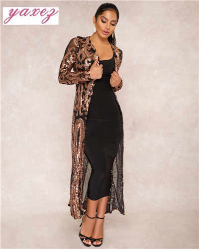 fc81cc0fbd2 ... Elegant Sequin Maxi Long Dresses Cardigan Evening Party Sexy Mesh See  Through Dress Spring Autumn Long