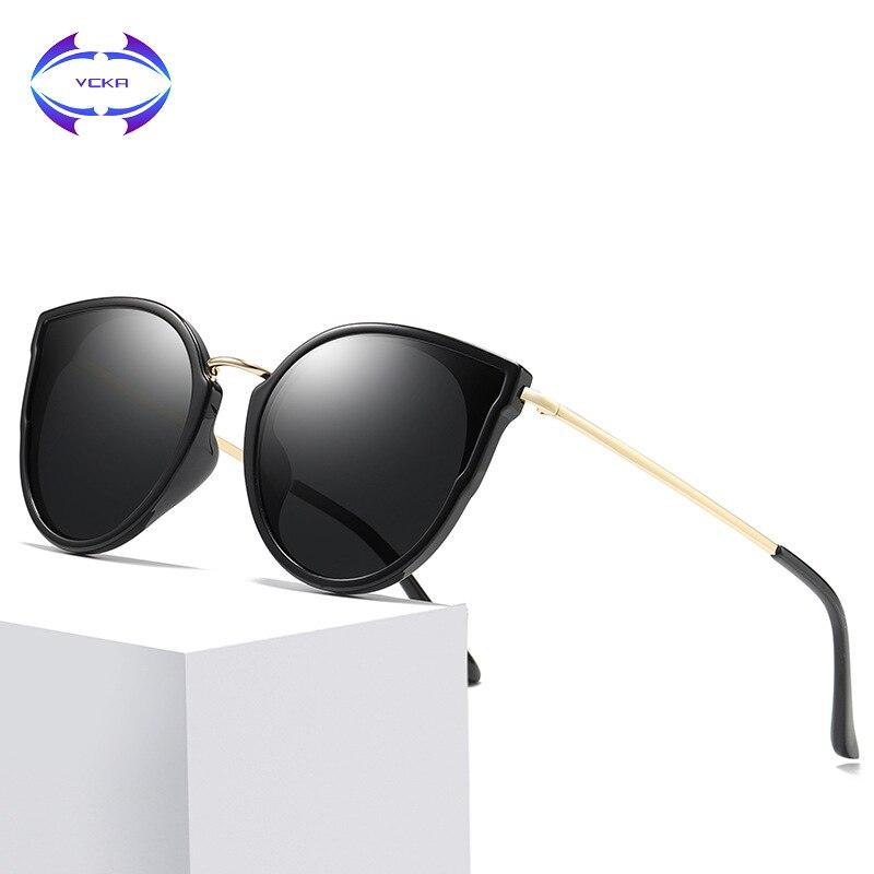 VCKA Cat's eye Polarized sunglasses women Retro Style Metal Frame drive Sun Glasses Famous Lady Brand Designer Oculos Feminino