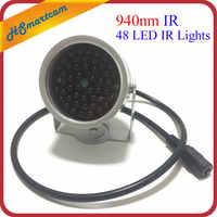 Nuevo iluminador Invisible 940NM infrarrojo 60 grados 48 luces LED IR para cámara de seguridad CCTV 940nm IR (no contiene 12V1A de potencia)