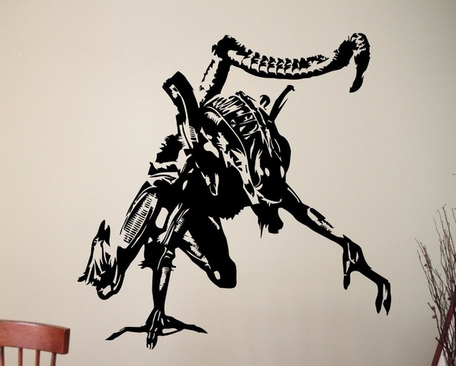 Alien <font><b>Wall</b></font> Vinyl <font><b>Sticker</b></font> <font><b>Retro</b></font> Vintage Movie Xenomorph Poster Decal Home Kids Boy Girl Room Interior Decor Dorm Studio Art Mural image