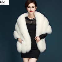 LZJ Latest Winter Faux Fur Coats luxury fox fur imitation mink fur poncho bridal wedding dress shawl cape women vest fur coat