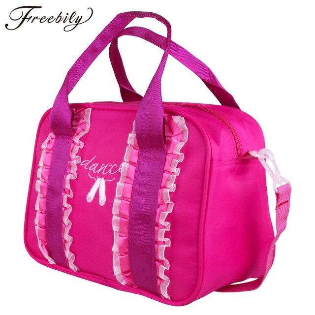 2f6be5dfa6c7 US $10.14 34% OFF|Girls Ballet Bags Fashion Kids Girls Ruffles Embroidered  Dancing Toe Shoes Ballet Dance Bag Hand Shoulder Duffel Bag-in Ballet from  ...