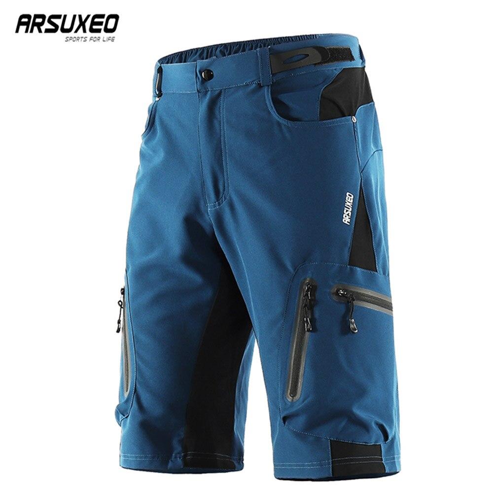 Arsuxeo calções de ciclismo dos homens solto ajuste calções bicicleta esportes ao ar livre calças curtas mtb mountain shorts resistente à água 1202