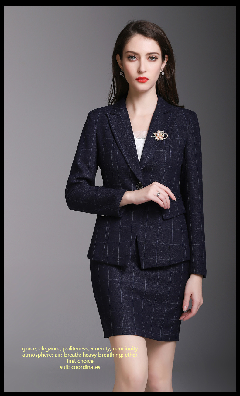 Grace Navy Grid Goddess Suits Womens Short Skirt Suits Business Work Suits Office Lady Suits Custom Made 2 Piece Jacket/skirt Men's Sleep & Lounge