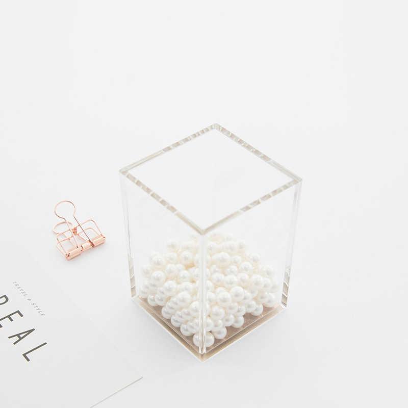 Diseño acrílico de lujo de contacto suave bolígrafo cuadrado lápiz regla titular taza escritorio papelería organizador, claro/oro rosa