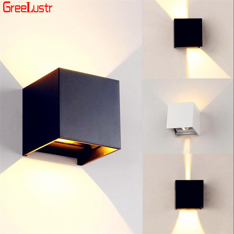 12W COB wall lamp waterproof IP65 outdoor wall sconces stairs balcony led  brief cube wall lamps home decoration lighting|LED Indoor Wall Lamps| |  - title=