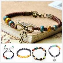 2020 nouveauté 7 Chakra Bracelet hommes noir lave perles déquilibre de guérison Reiki bouddha prière pierre naturelle Bracelet de Yoga pour femmes