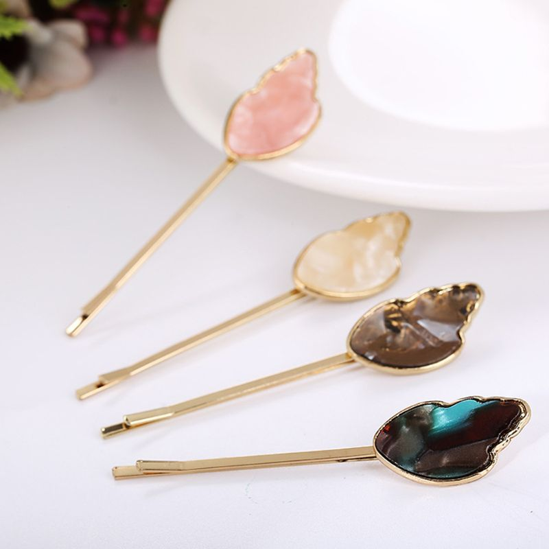 Minimalist Acetate Wings One Word Hairpin Women Girls Thin Metallic Hair Clip Ice Cream Color Imitation Crystal Styling Barrette