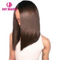 Hot Beauty Hair Lace Front Human Hair Wigs Straight Virgin Hair Brazilian 2*6 Inch Lace Kim K Closure bob Wig 150 Density Wig