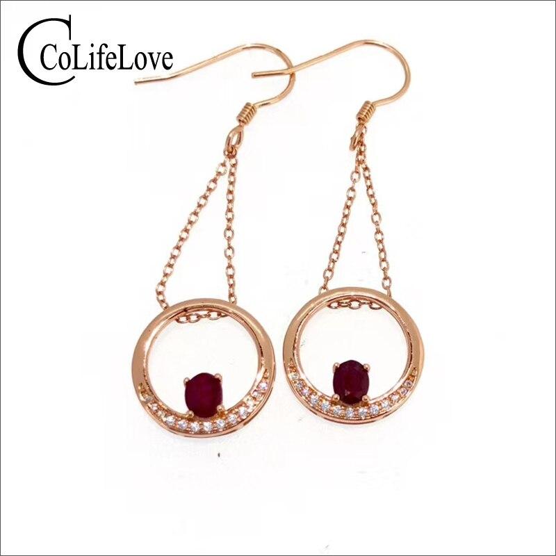 Boucles d'oreilles en forme de cercle en argent avec rubis 4mm * 5mm boucles d'oreilles en rubis rouge sang naturel 925 bijoux en rubis en argent cadeau pour fille