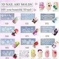 10 unids/lote diseño mezclado Nail art Puntas de DIY 3D UV GEL Acrílico Polvo de Silicio Molde Conjunto
