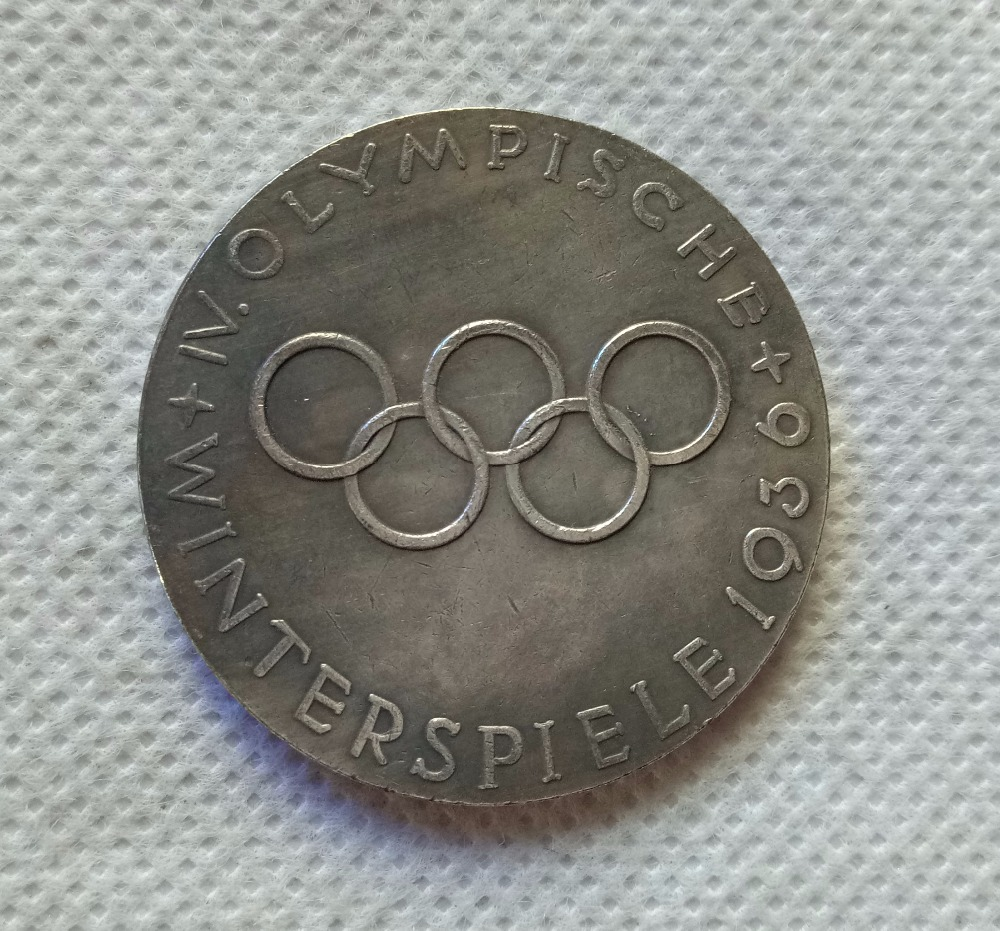 1936 WW2 SECONDE GUERRE MONDIALE Allemand Berlin Jeux Olympiques médaille médaillon COPIE COIN LIVRAISON GRATUITE