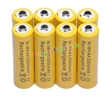 8x AA 3000mAh 2A 1.2 V Ni-MH Yellow Rechargeable Battery Cell for MP3 RC Toys sale 4 10pcs 1 5v lithium aa battery 3000mah lr6 am3 2a lifes2 cell dry primary battery for camera and toys electric shaver