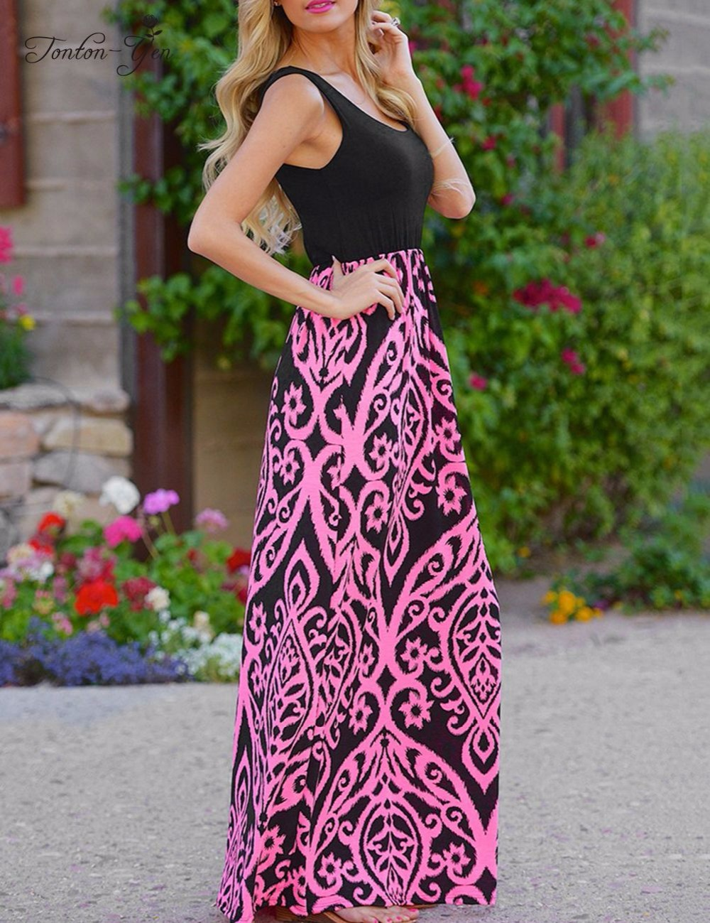 2017 Summer New Women Black Print Long Dress Robe Off Shoulder Loose Brief Plus Size Long Beach Dress Tank Dress For Whole Sale
