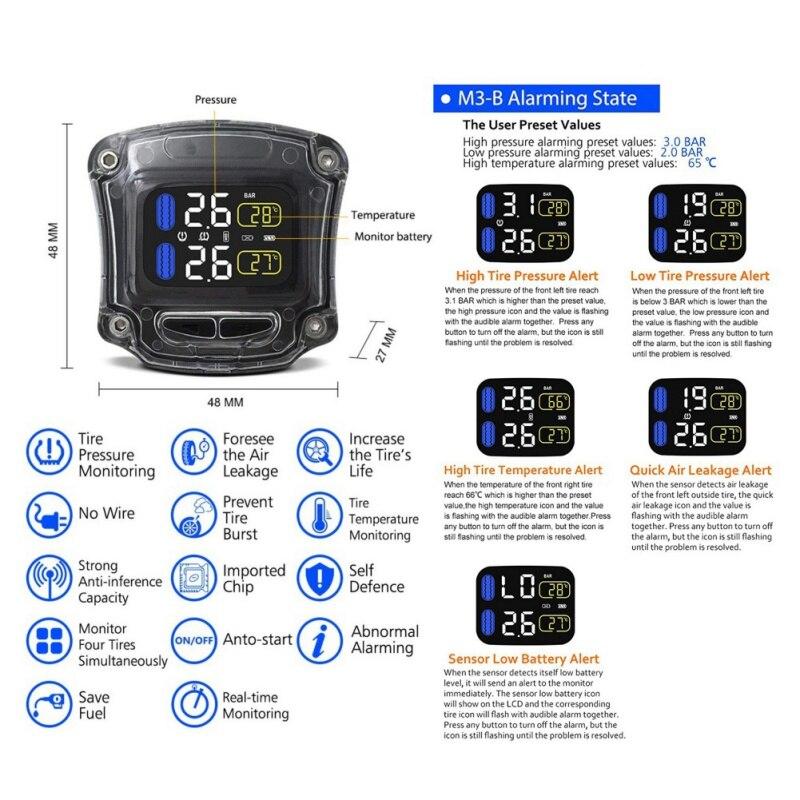 Motocicleta tpms sistema de monitoramento pressão dos