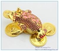 Whole Sale Rhinestone Animal The Golden Toad Shape Trinket Box