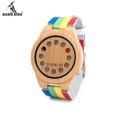 BOBO BIRD A01 Womens Ladies Watch 12 Holes Design Bamboo Watches with Colorful Leather Band in