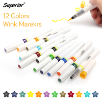 Superior 12 Colors Wink Of Stella Brush Glitter Markers DIY Scrapbooking Crafts Soft Brush Pen Copic