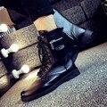 2016 Nuevo Estilo de Tobillo Hombres Botas Casuales de Cuero Primavera/Otoño Schuhe Rubberchuteira Negro Moda Militar Bota Masculina Em Couro