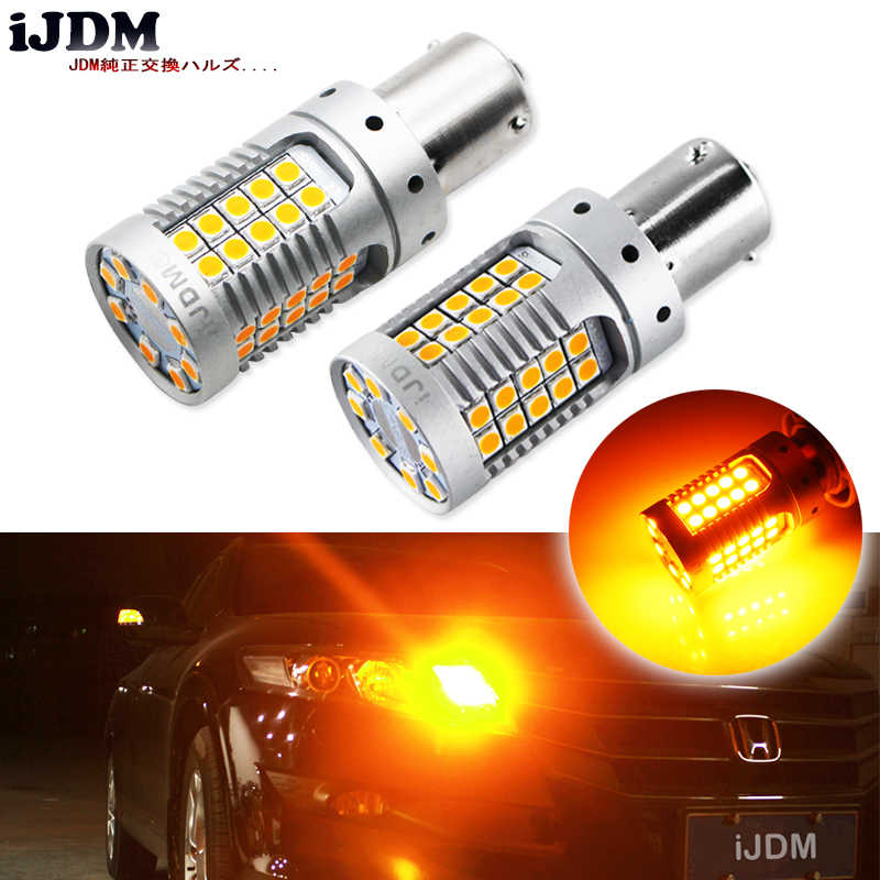 IJDM Car BAU15S LED sin Hyper Flash ámbar 48-SMD 3030 LED 7507 PY21W bombillas LED para luces de señal de giro, Canbus libre de errores