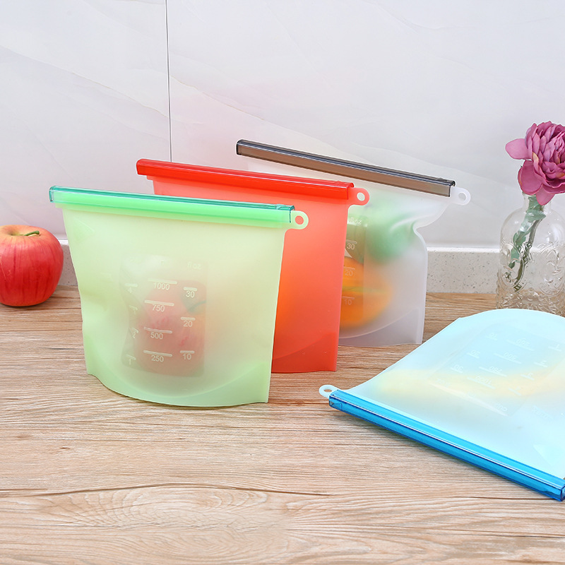 50pcs lot Silicone Food Bag Fresh Sealed Bags Reusable Preservation Bags Airtight Seal Storage Container 1000ml
