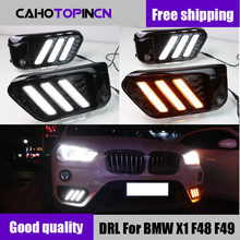 2PCS LED DRL Daytime Running Light Daylights for BMW X1 F48 F49 2016 2017 2018 2019 fog lamp With Yellow Turn Signal style relay(China)
