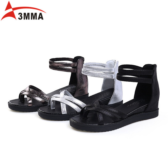 4f095063bd2bc6 3MMA 2017 New Summer Pu Leather Snakeskin Women Sandals Flats Cross Ankle  Wrap Sandals Buckle Fashion Women Shoes Handmade
