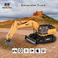 HUINA TOYS RC Alloy Excavator RTR 1510 1:16 2.4GHz 11CH Mechanical Sound / 680 degree Rotation / Movable Stick Boom Bucket hi