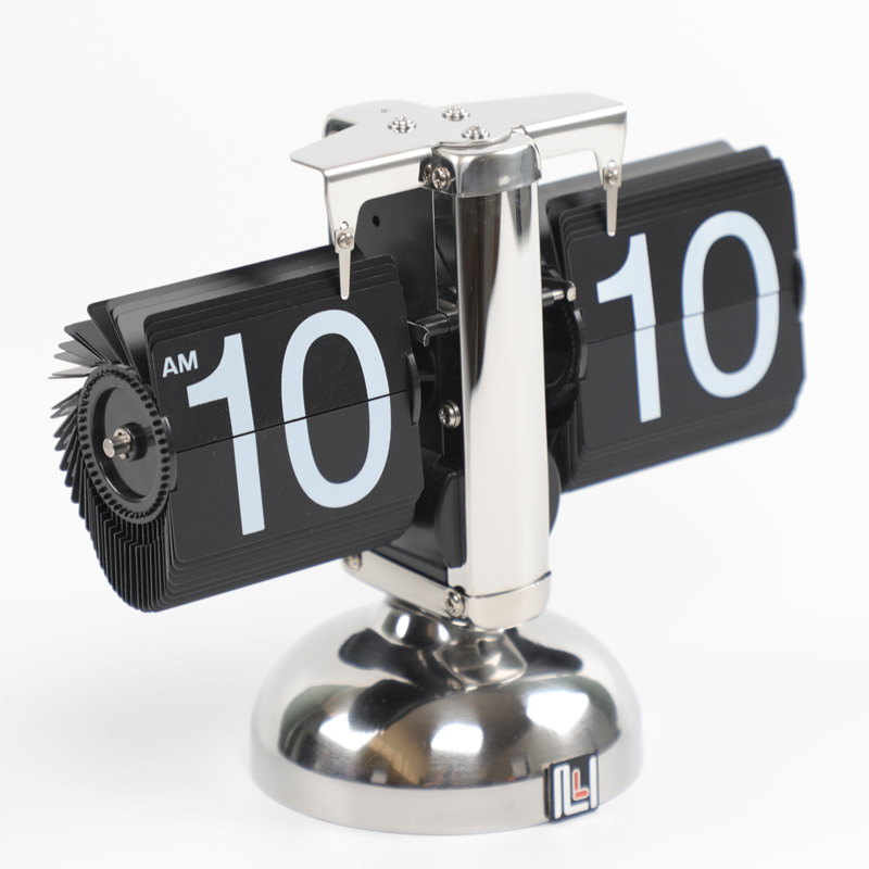 Retro Flip Over Clock Desk Stainless Steel Flip Internal Gear Operated Flip Table Clock Operated Quartz Clocks Small Scale 4